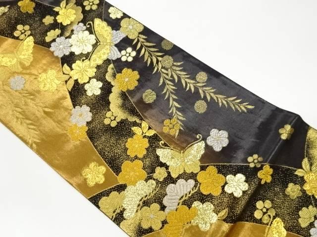 合計3980円以上の購入で送料無料 変わり松竹梅に桜 蝶模様織出し袋帯 贈物 リサイクル 中古 休日