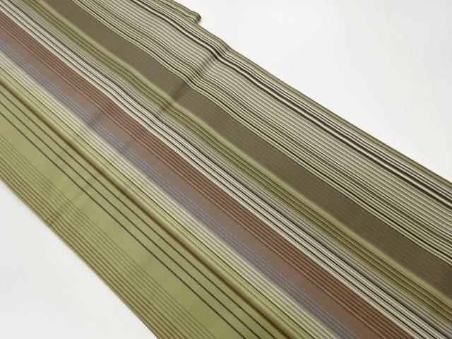 縞模様織出しリバーシブル全通袋帯【リサイクル】【中古】