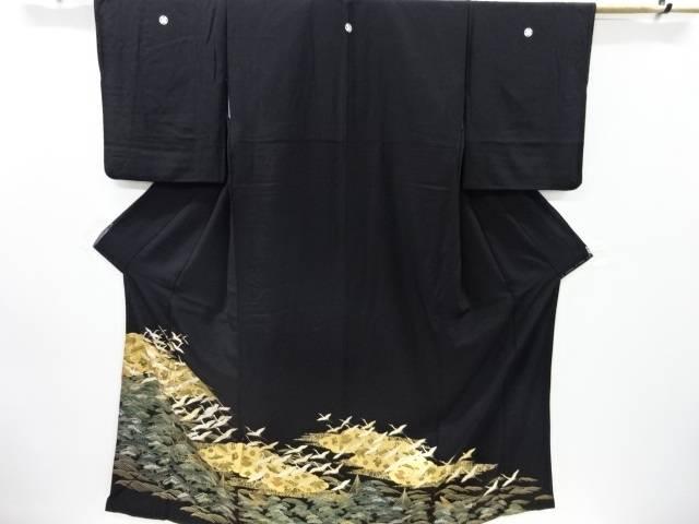 合計3980円以上の購入で送料無料 群鶴に松模様刺繍留袖 新作からSALEアイテム等お得な商品 満載 比翼付き 再再販 リサイクル 中古