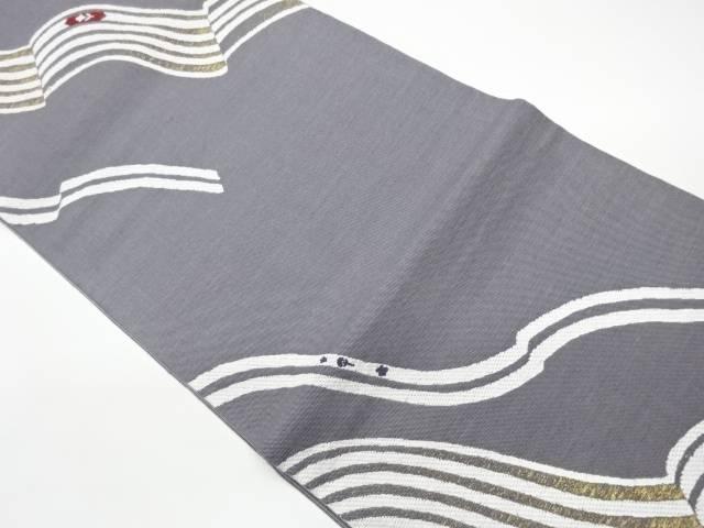 日本製 合計3980円以上の購入で送料無料 激安セール 抽象模様織出し洒落袋帯 リサイクル 中古