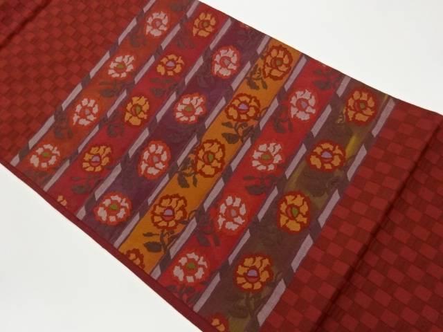 合計3980円以上の購入で送料無料 希少 横段に花模様織出し洒落袋帯 中古 価格 リサイクル