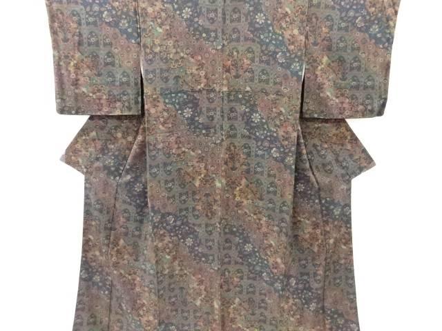 直輸入品激安 合計3980円以上の購入で送料無料 唐花模様小紋着物 中古 リサイクル 新色追加