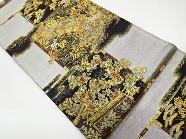 合計3980円以上の購入で送料無料 几帳に松 桜 中古 値下げ 一部予約 菊模様織出し袋帯 リサイクル