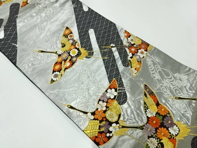 合計3980円以上の購入で送料無料 入手困難 群鶴に和楽器 草花模様織出し袋帯 リサイクル 中古 爆買い送料無料