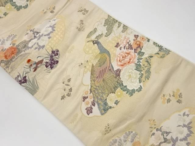 合計3980円以上の購入で送料無料 雲取りに孔雀 鴛鴦 花模様織出し袋帯 中古 リサイクル 流行のアイテム 使い勝手の良い