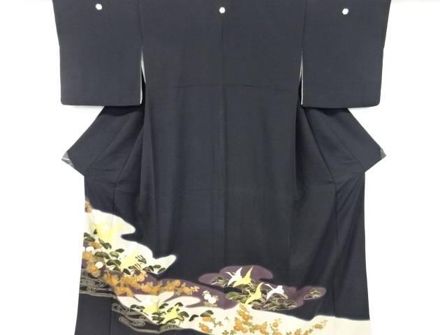 合計3980円以上の購入で送料無料 金彩菊に群鶴模様刺繍留袖 比翼付き 中古 アンティーク 通販 SALENEW大人気! 激安