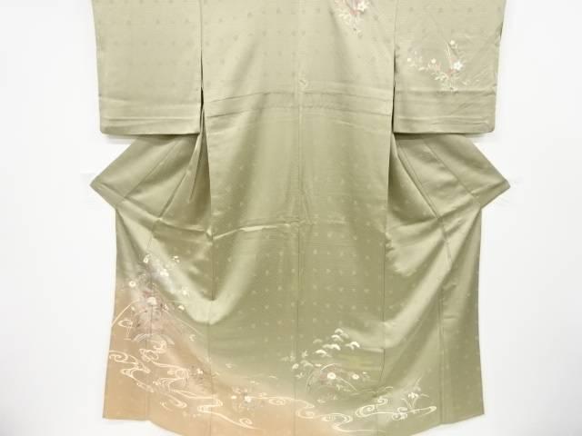 10%OFF 合計3980円以上の購入で送料無料 橋に牡丹 菊模様単衣着物 国内即発送 中古 アンティーク