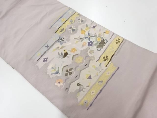 ショッピング 新品 送料無料 合計3980円以上の購入で送料無料 すくい織花鳥模様織出し袋帯 リサイクル 中古