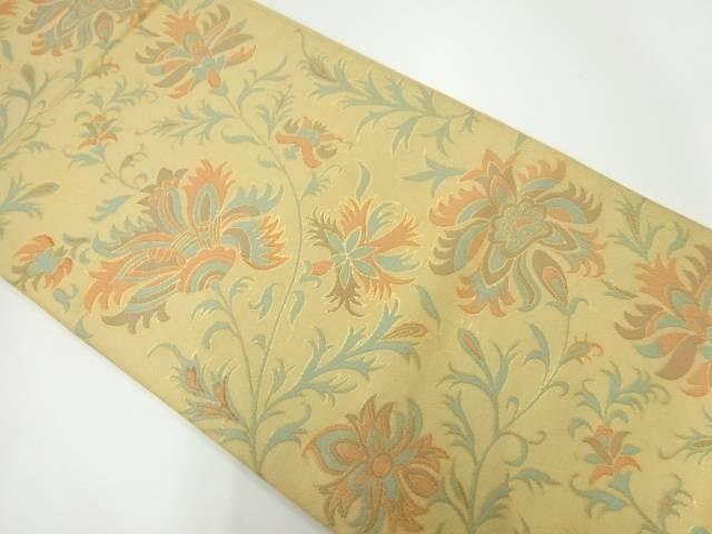 合計3980円以上の購入で送料無料 織悦製 舗 草花模様織出し全通袋帯 中古 リサイクル 最安値