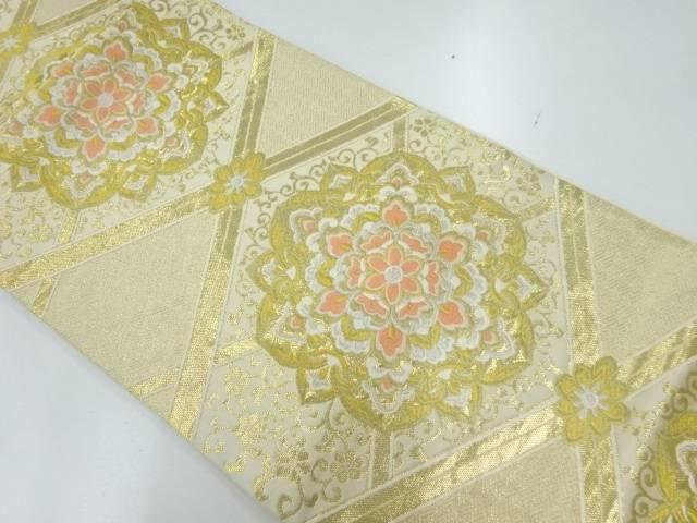 定番スタイル 合計3980円以上の購入で送料無料 本金箔24K琥珀緞子襷に華紋織出し袋帯 中古 リサイクル 現品