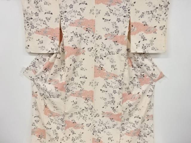 合計3980円以上の購入で送料無料 雲に花模様単衣小紋着物 内袖付き 新作 豪華な 中古 リサイクル