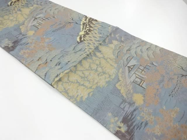 合計3980円以上の購入で送料無料 家屋に樹木風景模様織出し袋帯 リサイクル 中古 人気ブランド多数対象 在庫一掃 着