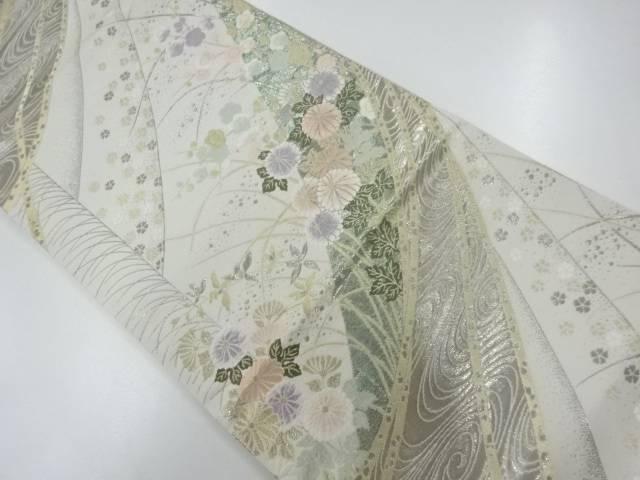 合計3980円以上の購入で送料無料 純プラチナ箔枝梅に菊模様織出し袋帯 リサイクル 着 日本メーカー新品 いよいよ人気ブランド 中古
