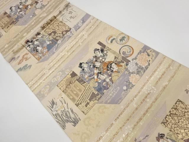 合計3980円以上の購入で送料無料 歌舞伎役者に花々模様織出し袋帯 リサイクル 国内正規総代理店アイテム 中古 着 卸売り