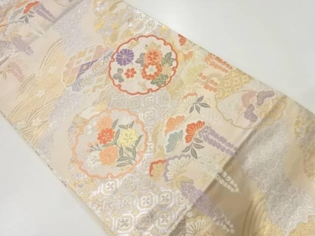 合計3980円以上の購入で送料無料 送料無料限定セール中 雪輪に草花 別倉庫からの配送 古典柄模様織出し袋帯 中古 リサイクル 着