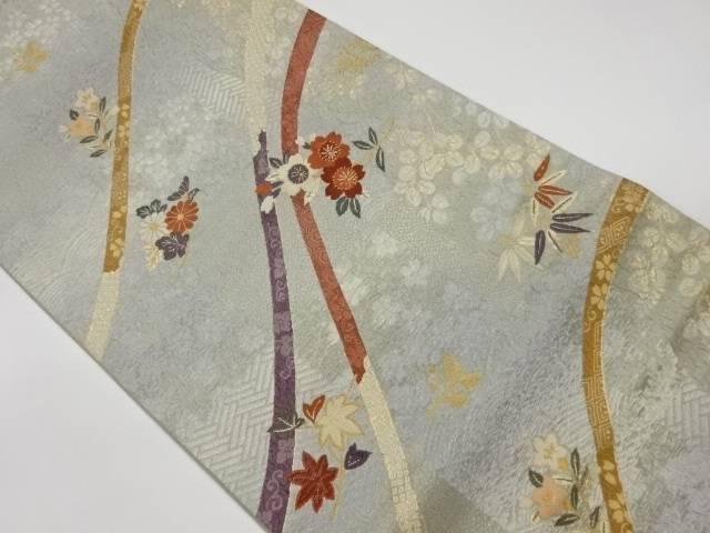 【合計3980円以上の購入で送料無料】  波切織紐に花模様織出し袋帯【リサイクル】【中古】【着】