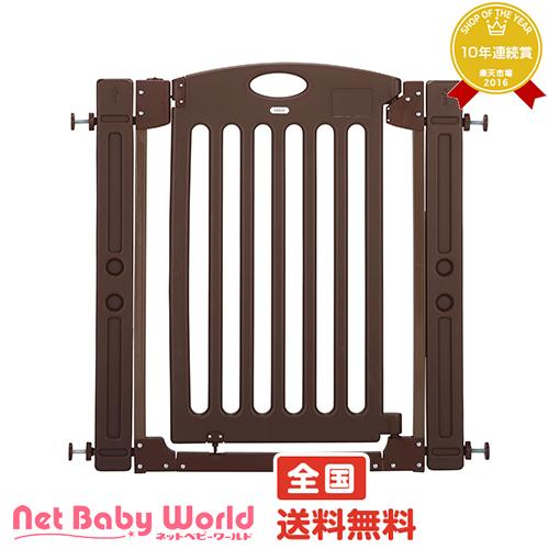 ママ割メンバーエントリーでポイント5倍 階段上で使えるゲート ブラウン カトージ Katoji ベビーゲート 階段上用ゲート