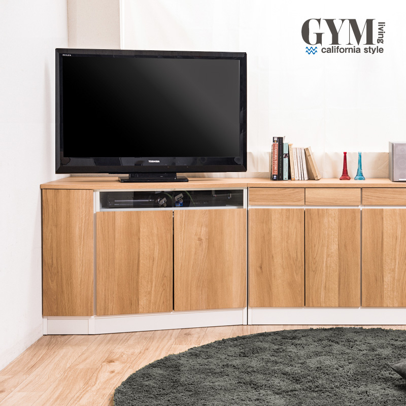 【gym】ジムシリーズ コーナーテレビボード幅99.5cm 左壁付けタイプ コーナーキャビネット 引出し 引き出し 北欧 おしゃれ 木製 ガラスキャビネット ラック 棚 テレビ台 TVボード テレビボード 幅100 ハイタイプ