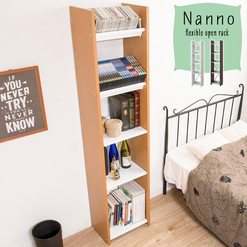 【NANNO】ナンノシリーズ 可変自在棚オープンラック 幅40cm ホワイト色 ナチュラル色 ブラウン色 ウッドラック 本棚 オシャレ おしゃれ スリム ランドセルラック 木製 絵本棚 北欧 薄型 シェルフ 収納棚 棚 マガジンラック A4ファイル