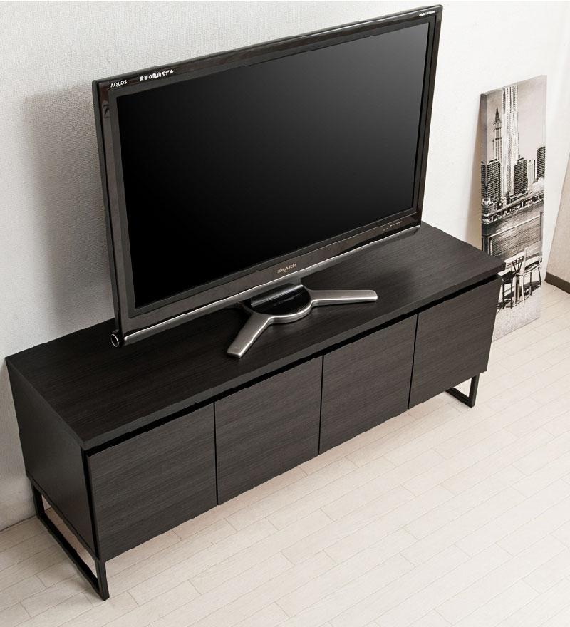【Darth】ブラックインテリア ダースシリーズ  スクエアキャビネット ローボードタイプ 幅141cm ローボード TV台 テレビ台 ディスプレイ リビング ブラック 黒 木製 ラック スクエア 棚 リビングボード