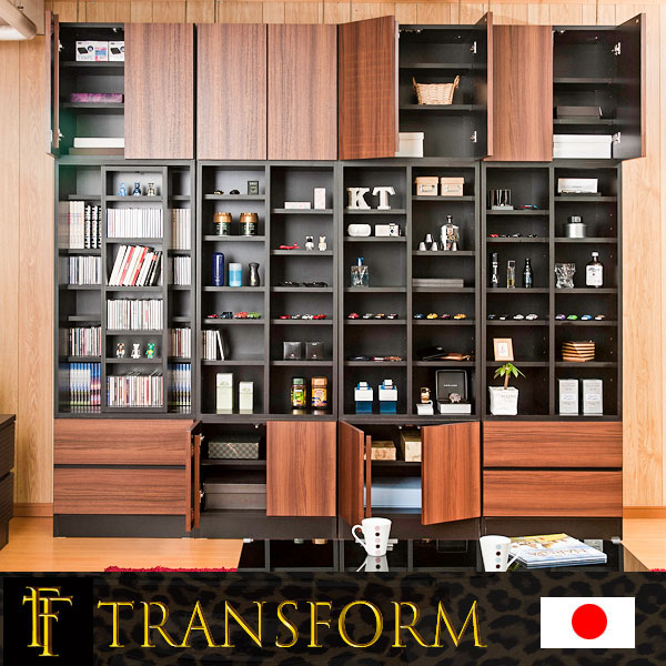 【Transform】トランスフォームシリーズ ユニットシステム壁面収納 幅60 下台 引出し2杯タイプ ブラック色 ラック 棚 白家具 木製 完成品 ブラウン ホワイト つっぱり テレビ台 薄型 本棚 テレビボード