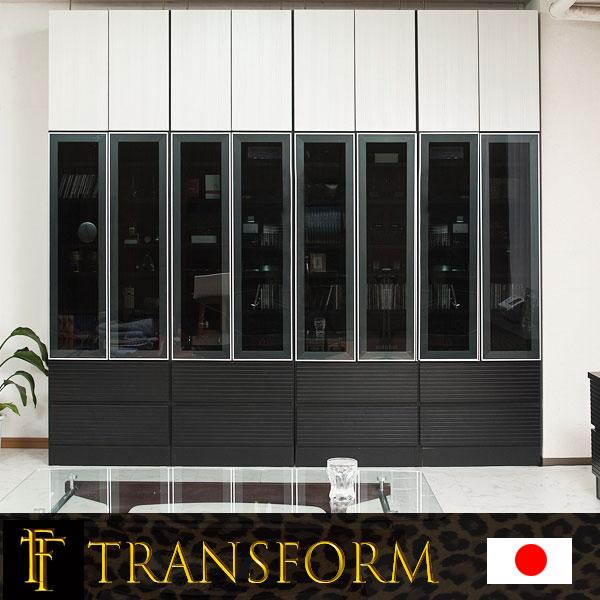 【Transform】トランスフォームシリーズ ユニットシステム壁面収納 幅60 中台 LEDライト付ショーケース ラック 棚 白家具 木製 完成品 ブラウン ホワイト つっぱり テレビ台 薄型 本棚 テレビボード