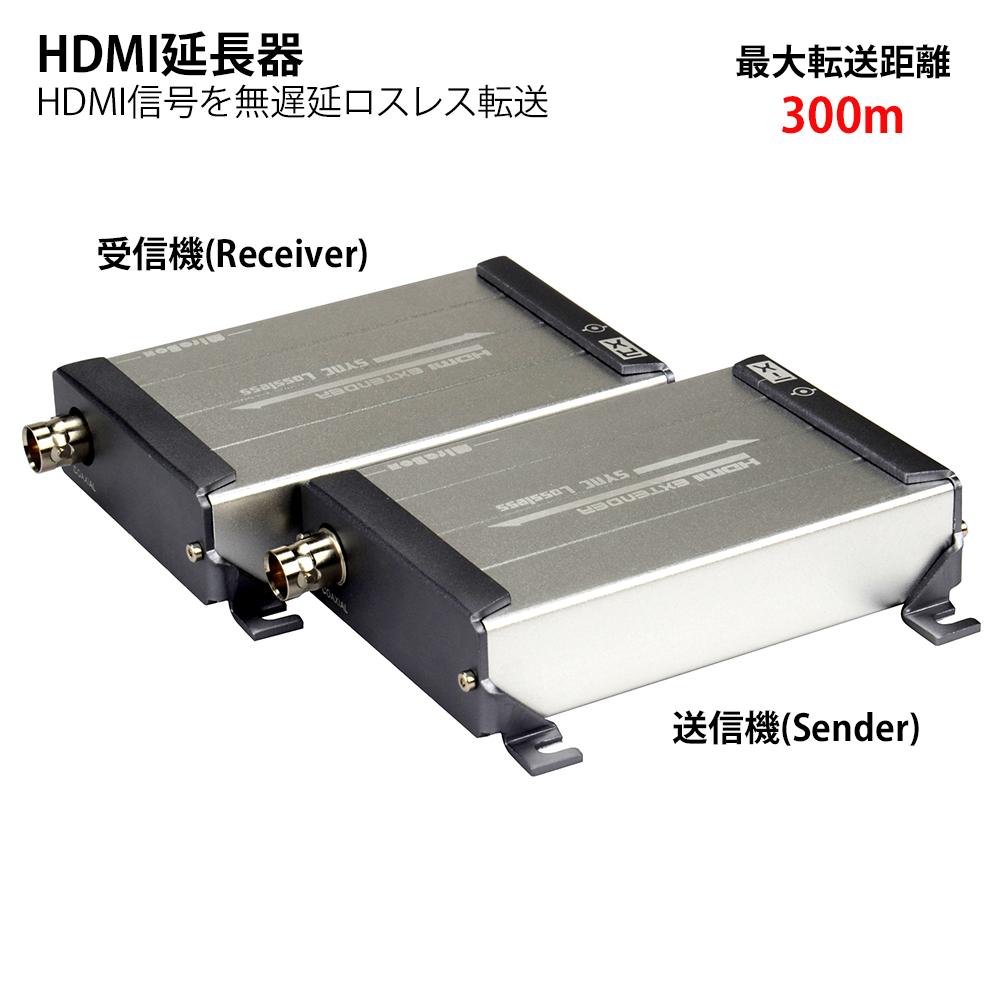 HDMI延長器 送信機+受信機 ペア 1対1 HDMIリピーター 最大300m延長 1080p高画質映像転送