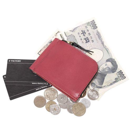 牛革を使ったマネークリップです。カードと小銭も入るコンパクトなマネークリップです。 S'FACTORYエスファクトリー L字ファスナー マネークリップ コインケース付き カウレザー レッド(牛革)メンズ 革小物 マネークリップ 札バサミ カードケース 小銭入れ コインケース コンパクト 本革