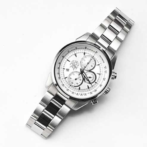 S'FACTORYエスファクトリー クロノグラフ 腕時計 ホワイト×シルバー メンズ、ステンレス ベルト オリジナル シルバーブランド 日本