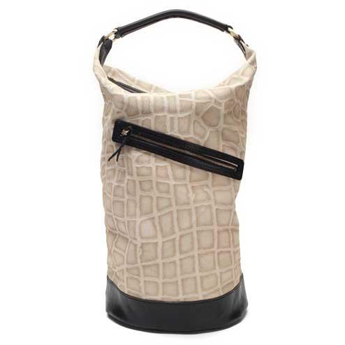 S'FACTORYエスファクトリー ボンサックバッグ 帆布&レザークロコスタンプ アイボリー メンズ バッグ カバン 帆布 キャンバス 白 ワンショルダー 2way クロコ柄 帆布