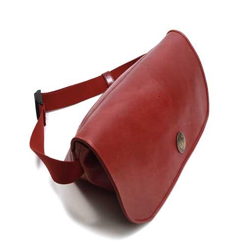 S'FACTORYエスファクトリー レザーメッセンジャーバッグ レッド カウレザー(牛革)革 ショルダー カバン メンズ 赤 大容量