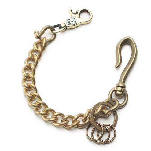 真鍮製の短いウォレットチェーンです。鍵を取り付けられるキーリング付き。 S'FACTORYエスファクトリー キーリング ショート ウォレットチェーン スタンダード ブラス(真鍮) 金属 ゴールド メタル 短め キーリング 鍵 喜平