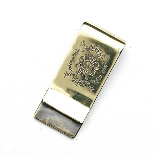 S'FACTORYエスファクトリー 真鍮マネークリップ エンブレム ブラス(真鍮) 財布 金属 ゴールド アンティーク 札 シルバーブランド