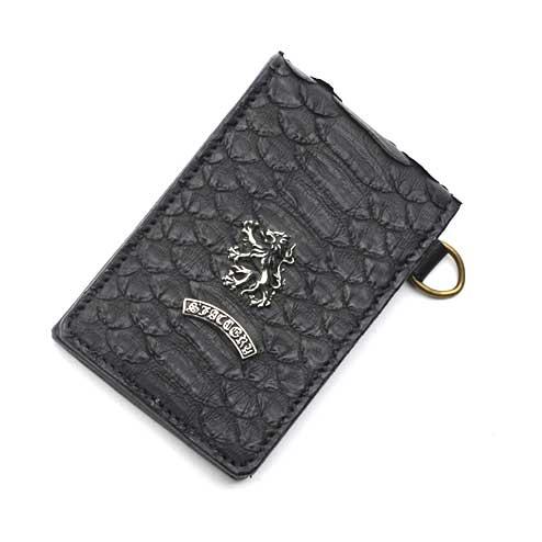 S'FACTORYエスファクトリー 縦型 パスケース ブラック パイソン(ヘビ革) パス ケース カード 名刺 レザー 本革 メンズ