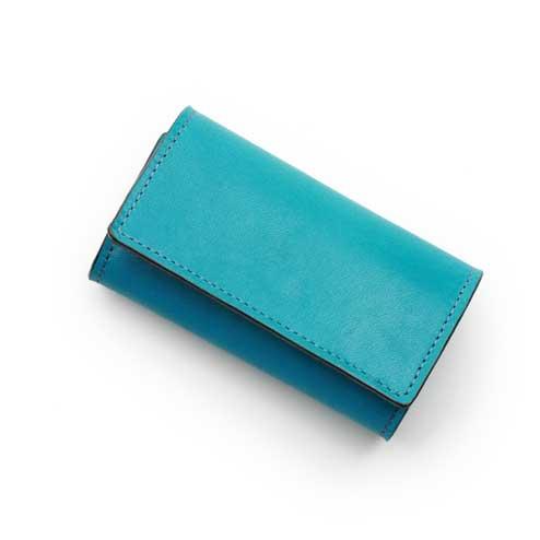 S'FACTORYエスファクトリー シンプルキーケース ターコイズブルー ポニーレザー(馬革) キーケース 鍵 メンズ レザー 革 青 三つ折 限定カラー
