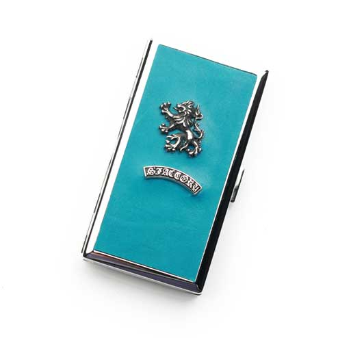 S'FACTORYエスファクトリー メタル シガレットケース 12本タイプ ターコイズブルー ポニーレザー(馬革) ロング レザー 革 10本以上収納 青 タバコ入れ 限定カラー