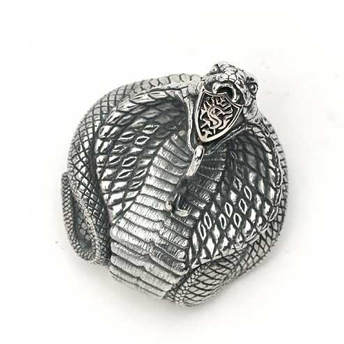S'FACTORYエスファクトリー エンブレム コブラ コンチョ Silver925(銀) ウォレット パーツ ヘビ コンチョ カスタム 真鍮