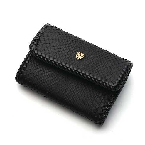 S'FACTORYエスファクトリー キーウォレット ブラックパイソン(ヘビ革) ミニ財布、メンズ 本革 キーケース コインケース 小銭入れ ショートウォレット