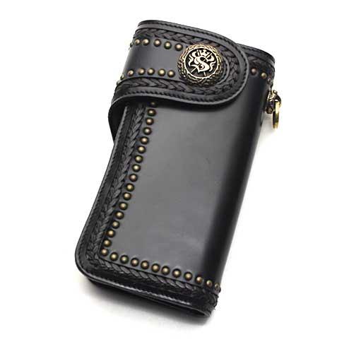 S'FACTORYエスファクトリー バイカーズ ウォレット04 カウレザー ブラック(牛革) お財布 本革 レザー バイカーズ コンチョ メンズ