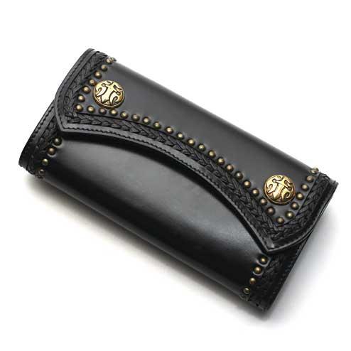 S'FACTORYエスファクトリー 2スナップ ロング ウォレット カウレザー ブラック(牛革) お財布 本革 レザー スタッズ コンチョ メンズ