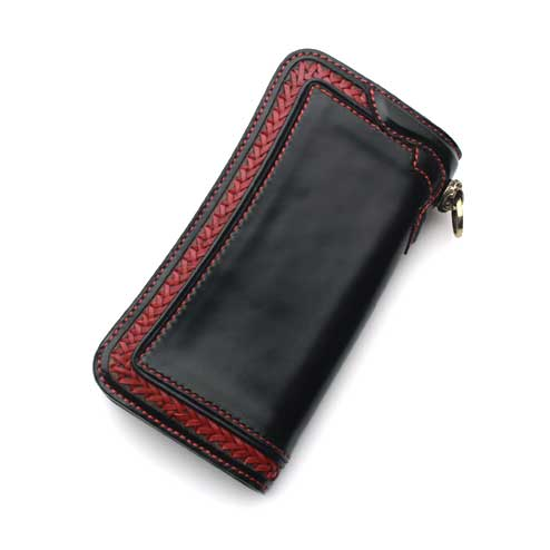 S'FACTORYエスファクトリー ロングウォレット カウレザー ブラック&レッド(牛革) 編み込み 財布 メンズ レザー 本革 バイカー サドル 二つ折り 長財布