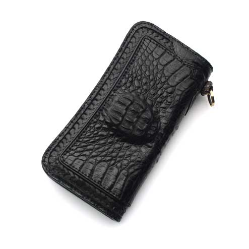 S'FACTORYエスファクトリー ロングウォレット クロコダイル(ワニ革) 編み込み 財布 メンズ レザー 本革 バイカー サドル 二つ折り 長財布
