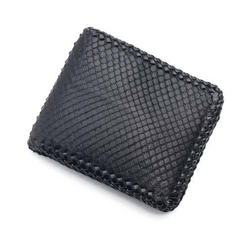 S'FACTORYエスファクトリー 縁編み ショートウォレット ブラックパイソン(ヘビ革) お財布 本革 レザー バイカー 編み込み 縁編み メンズ 二つ折り 小さい