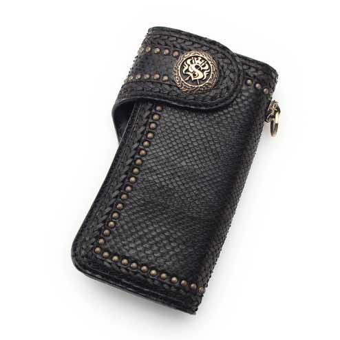 S'FACTORYエスファクトリー バイカーズ ウォレット04 ブラック パイソン(ヘビ革) お財布 本革 レザー バイカーズ コンチョ メンズ