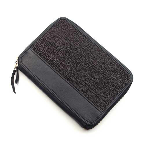 S'FACTORYエスファクトリー クラッチ ウォレット シャーク(サメ革) メンズ 財布 多機能 大きい ファスナー バッグ オーガナイザー レザー 革