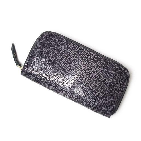 S'FACTORYエスファクトリー シンプル ファスナーウォレット スティングレー(エイ革)メンズ 財布 レザー 革 黒 ブラック