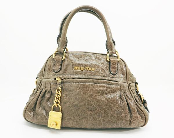 ◇【中古】 【MIU MIU ミュウミュウ】 チャーム付 2WAYハンドバッグ RT0439 ハンドバッグ