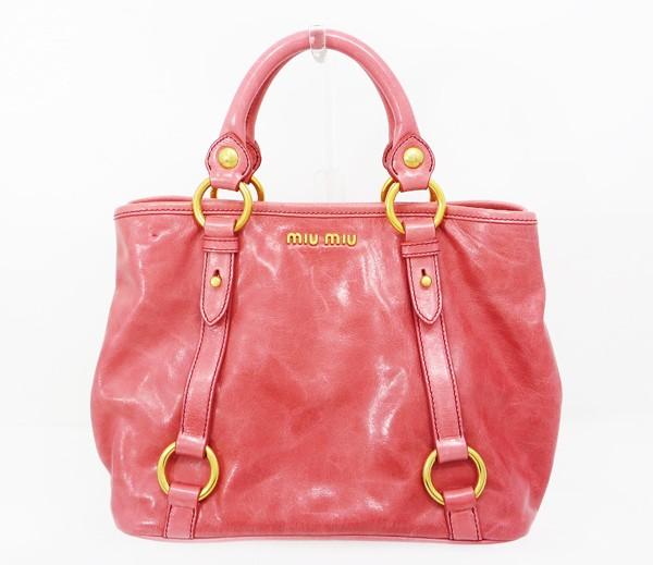 ◇【中古】 【MIU MIU ミュウミュウ】 ヴィッテロ シャイン 2WAY ハンドバッグ RN0685 ハンドバッグ ROSA(ピンク)