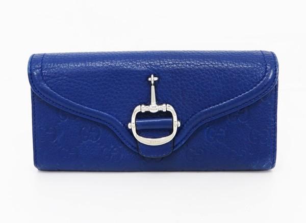 ◇【中古】 【GUCCI グッチ】 グッチシマ ホースビット 長財布 240781 財布 ブルー