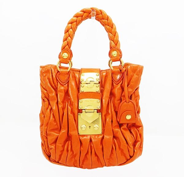 ◇【中古】 【MIU MIU ミュウミュウ】 マテラッセ 2WAYハンドバッグ RN0473 ハンドバッグ オレンジ
